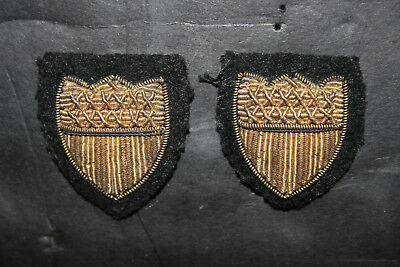 Lot of 2 Vintage US Coast Guard  WW2 Gold Bullion Sleeve Shield Insignia Patches