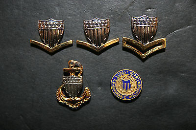 Lot of 5 Vintage United States Coast Guard Collar Insignia Pins Petty Officer
