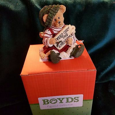 Boyds Bearstone Buddy Elkin...All Wrapped Up  1st Edition Retired