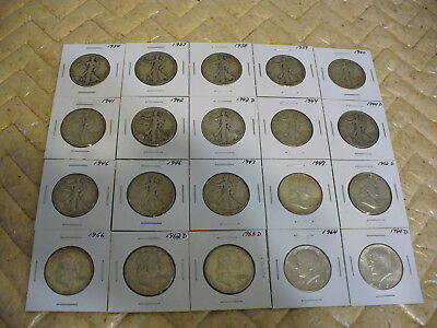 Lot Of 20 1934-1964 Usa  Half Dollar Silver Coins  50 Cent Pieces    Not Junk