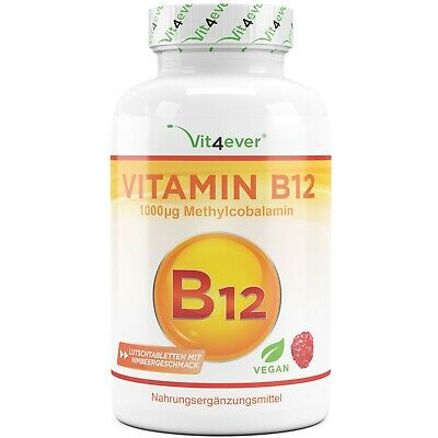 Vitamin B12 - 200 Tabletten mit 1000mcg - Methylcobalamin - 100% vegan B-12