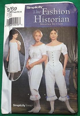 Simplicity Pattern 9769 Civil War Undergarments Chemise Drawers Ladies 6 8 10 12