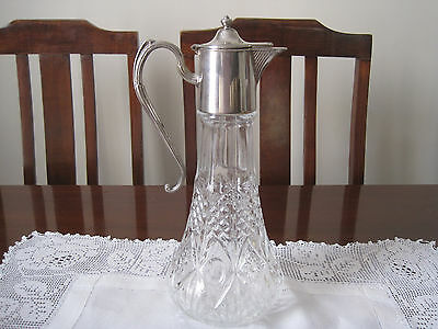 Elegant Vintage Silverplated And Pressed Glass English Claret Jug