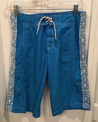 LANDS ENDS Kids Swimsuit /Board Shorts/Trunks Turquoise & White 10/12 Husky  12