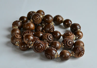 Vintage Chunky molded brown caramel gold plastic beaded necklace filigree caps