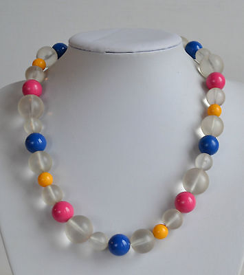 Vintage Chunky frosted ice pink blue yellow plastic beaded necklace hidden clasp