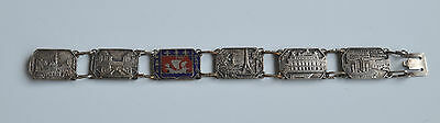 art deco French Link BRACELET Souvenir of Paris Champleve Enamel Silver metal