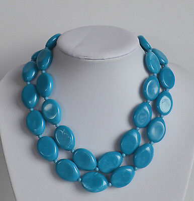 VINTAGE swirl turquoise lucite plastic 2 rows necklace with oval flattened beads