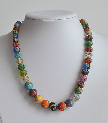 rare Japanese Tonbo Dama Millefiori Matte Frosted Glass Necklace Cane Inclusion