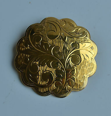 vintage GOLD PLATED SILVER BROOCH PIN HAND ENGRAVED FLORAL PATTERN MARKED