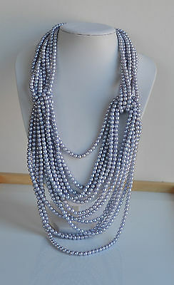 Vintage 70's Faux Pearl Plastic Beaded Runway Necklace 8 rows silver blue tone