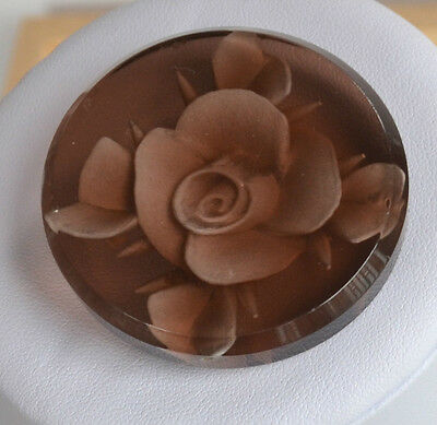 XL Art Deco early plastic reverse hand carved rose circular brooch pin