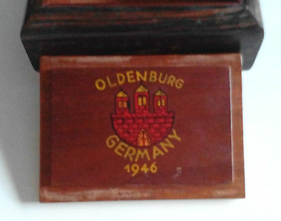 1946 Oldenburg Germany City Souvenir Wood Box Inlay Mother Of Pearl Hand Painted