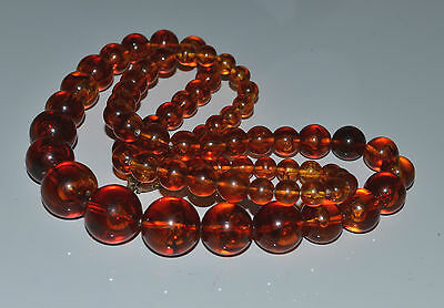 vintage FAUX AMBER NECKLACE BEADED PLASTIC LUCITE GRADUATED