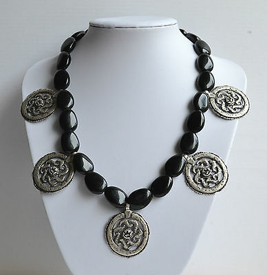 Made In Italy Signed Save The Queen Statement Necklace Black Resin Silver Metal