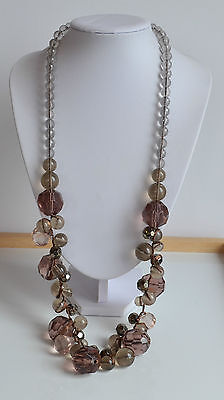 signed Mark smoky topaz translucent plastic faceted bead statement necklace