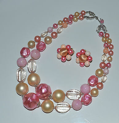 vintage Japan pink & clear plastic & pink faux pearl 2 row necklace & earrings