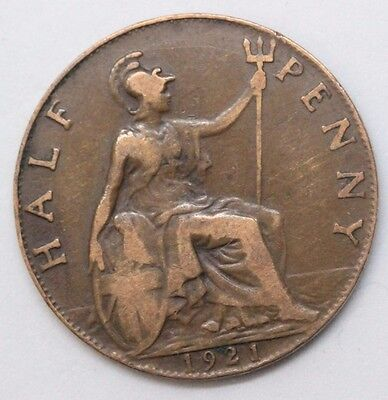 George V 1921 Halfpenny Coin