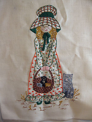 "Finished Holly Hobbie Embroidered picture  22"" x 17"" Unframed"