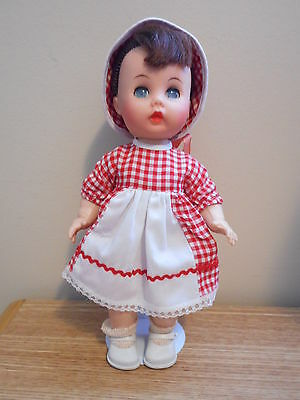 "Littlest Angel Doll 11"" R&B  w/ White & Red checked Dress & Sun Hat, 1960's"