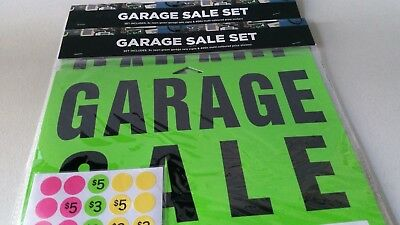 Garage Sale Signs 2 x Packs of 3 Neon Green Signs + Price Stickers Fast Delivery