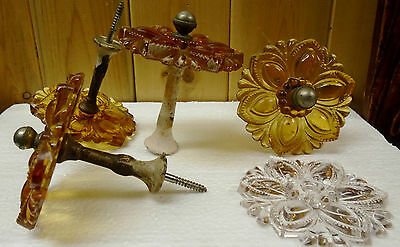 Antique Victorian 4 Amber Glass Curtain Tiebacks + 1 Clear-3""