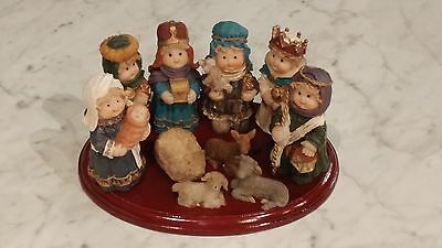 Set of 10 Hand painted Nativity Figurines With Wood Base