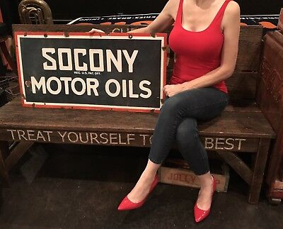 "Original Socony Porcelain Sign Gas Station Oil Service 36""x18"" Double Sided"