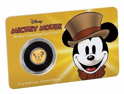 2017 Mickey Through The Ages:  Mickey's Christmas Carol 0.5g Proof Gold Coin