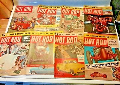 Vintage Lot Of Hot Rod Magazines 1950's Lot of 8