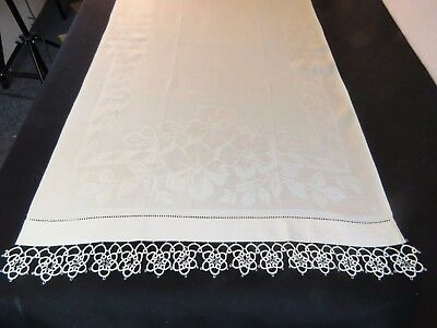 Antique Towel Linen Damask Flowers White Guest Hand Tatted Lace Tatting Vintage