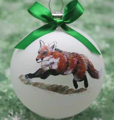 W008 Hand-made Christmas Ornament  - loping running to left red FOX
