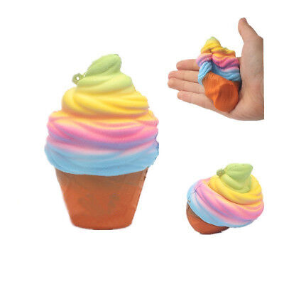 Squishy 10cm Rainbow Ice Cream Cone Slow Rising Scented Kids Fun Toy Strap Gift