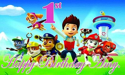 Paw Patrol Birthday Banner Personalized 50inx30in Big Blue Or Pink