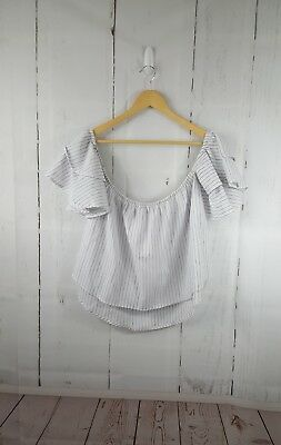 Women's Off shoulder Stripe Ruffle Boho Blouse Top 100% cotton