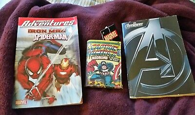 Large lot of Marvel books, wallet pez pocket pop