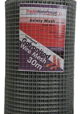 Aviary Wire Mesh - 1200mm 12.5mm squares - 30m Roll - 0.7mm wire gauge LIGHT Dut