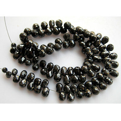 "Rough Diamonds Briolettes Faceted Beads Tear Drop 5mm - 3mm 8""Strand 90Piece DF9"