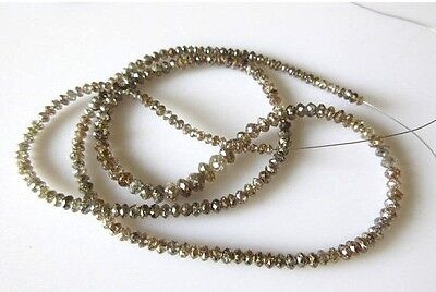 16 Inches Clear Cognac brown Color Faceted Diamond Beads 2mm To 4mm DDS494/20