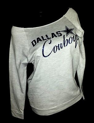 Dallas Cowboys Scoop Neck Heather Gray Raw Edge Terry Lt Wt.Jersey 3/4 Slv. Top.