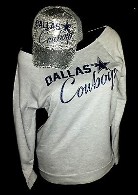 "Dallas Cowboys Heather Gray Rawedge Lt Wt. 3/4Slv Top~Slv.Sequin Cap""Combo Deal"""