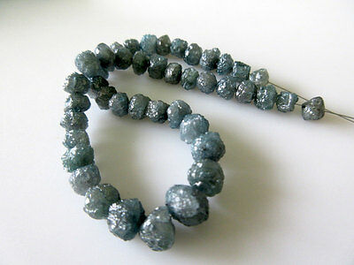 """16"""" Natural Round Blue Raw Rough Rondelle Loose Diamond 6.5mm-4mm Beads DdS242"""