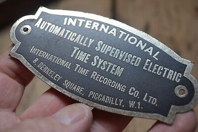 Vintage Time System Sign International Time Recording Co Piccadilly W1