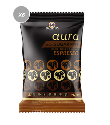 903826 4 x 70g BAGS OF SUGARLESS 99.5% SUGAR FREE HARD BOILED ESPRESSO CANDIES!