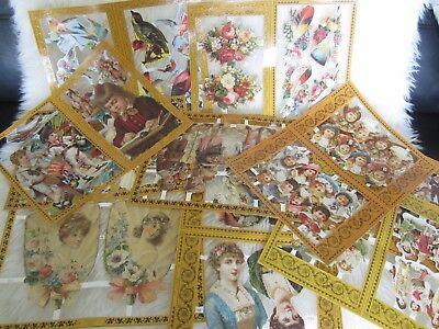 10 X  SHEETS  of Victorian Style Mamelok Scraps Decoupage, Birds,Figs, Fans etc