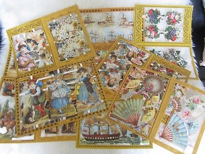 10 X  SHEETS  of Victorian Style Mamelok Scraps Decoupage, Mixed (Lot 2)