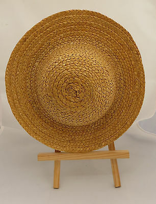 Plaited Straw / Boater Style Hat Of Small Proportions For Child Or Perhaps Doll?