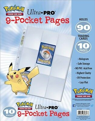 *** Pokemon 9 Pocket Pages Ultra Pro Trading Cards Pack Of 10 *** Ultrapro  !