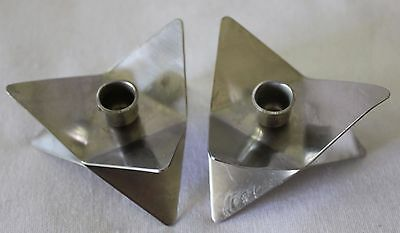 VINTAGE ~ Mid Century Modern Stainless Steel Star Shape Taper Candle Holders x 2