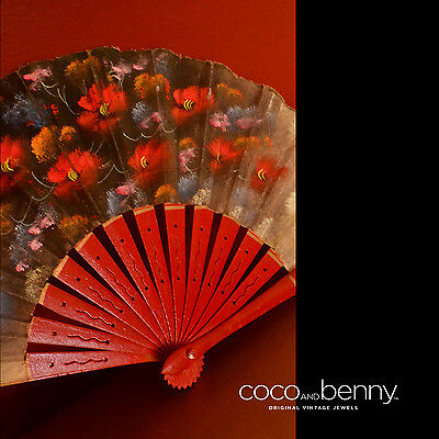 *Vintage 50's60's Spanish Red Wood Hand Painted Flowers on Cloth Hand Fan
